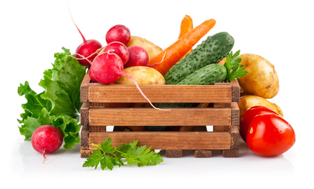 jpg2015052600125494026 Fresh vegetables in wooden box. Isolated on white background